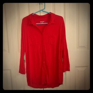 Red 3/4 sleeve knit blouse